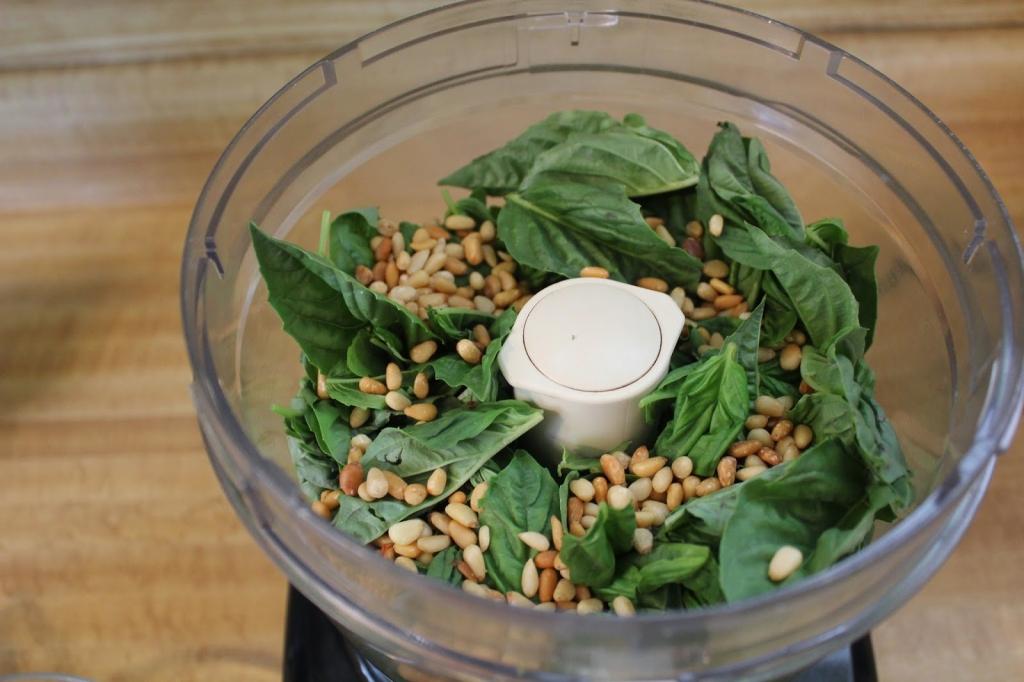 Dairy Free Pesto, basil in food processor