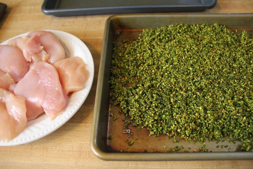 gluten-free pistachio crust ready to bread chicken
