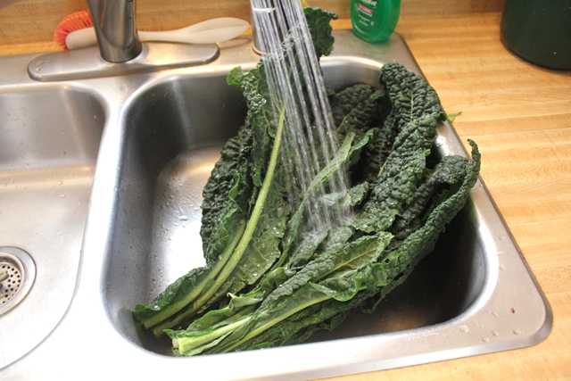 Kale in Sink