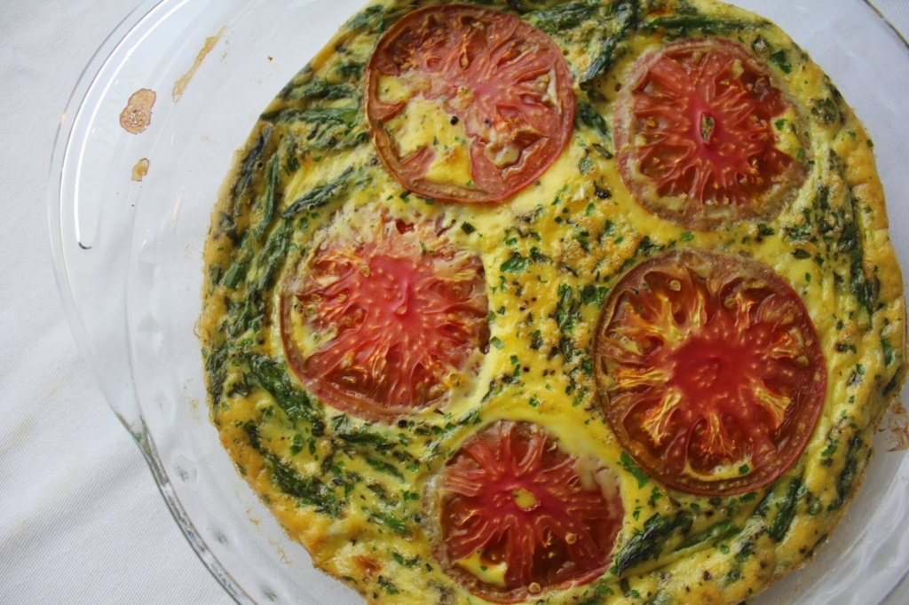 Dairy free vegetable frittata in a glass dish
