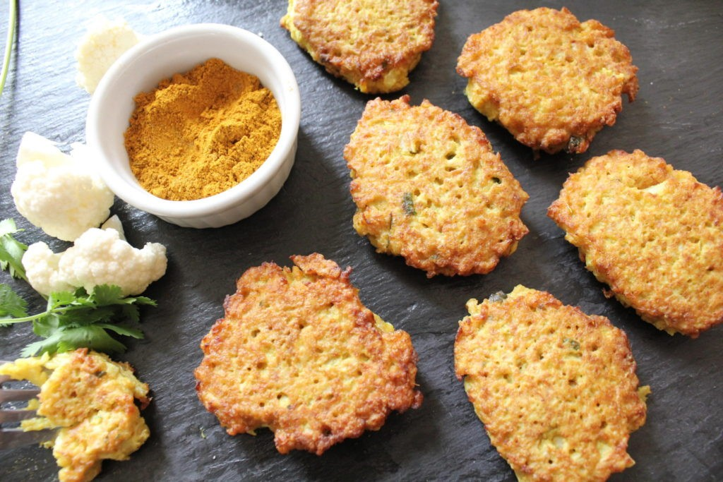 Gluten free curried cauliflower fritters