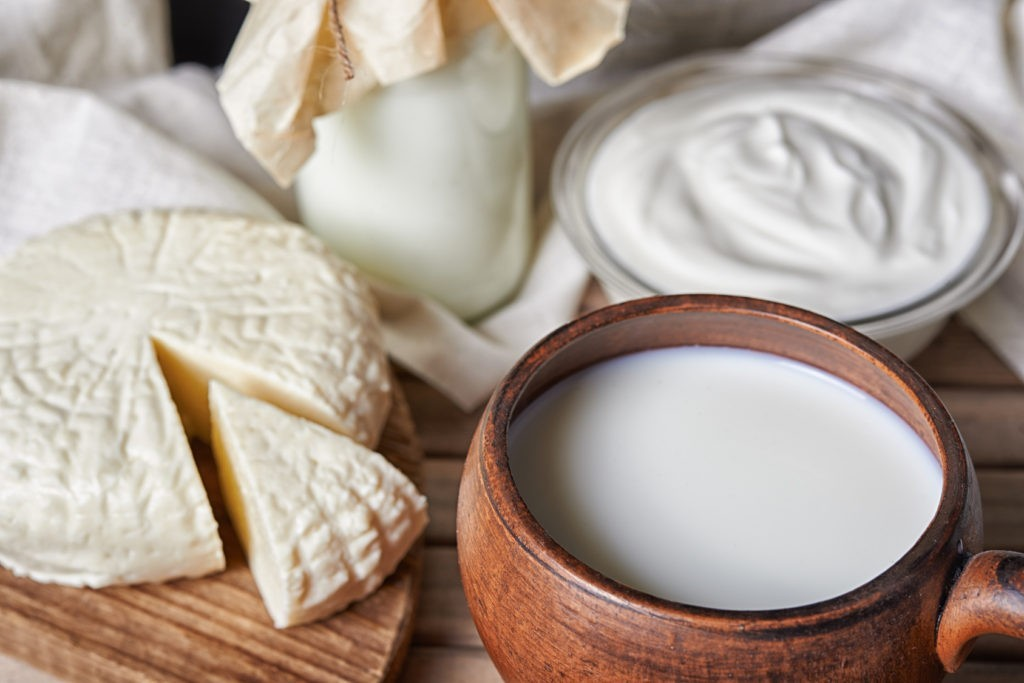 Dairy products on cutting boards