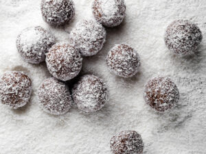 coconut rolled healthy chocolate truffles