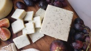dairy free cheeseboard with grapes and figs